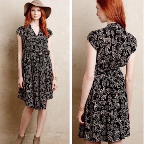 f53ac65b671f Anthropologie Dresses | Maeve Norah Elephant Print Wrap Dress | Poshmark